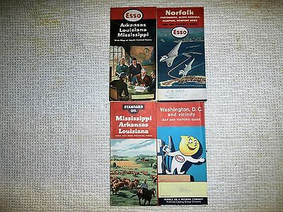 VINTAGE LOT OF 3 1950'S ESSO & 1 STANDARD OIL ROAD MAPS WASHINGTON D.C. ETC.