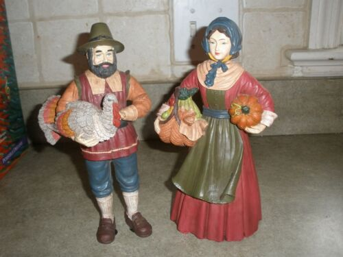 "Waterloo Gardens Pilgrim Man & Lady Thanksgiving Figures 9"" tall"