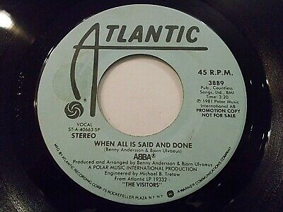 ABBA When All Is Said And Done 45 1981 Atlantic Promo Vinyl Record