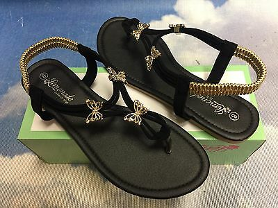 Butterfly Slingback Flat Flip Flops Thong With Elastic Ankle Strap Sandal 7.5 ()