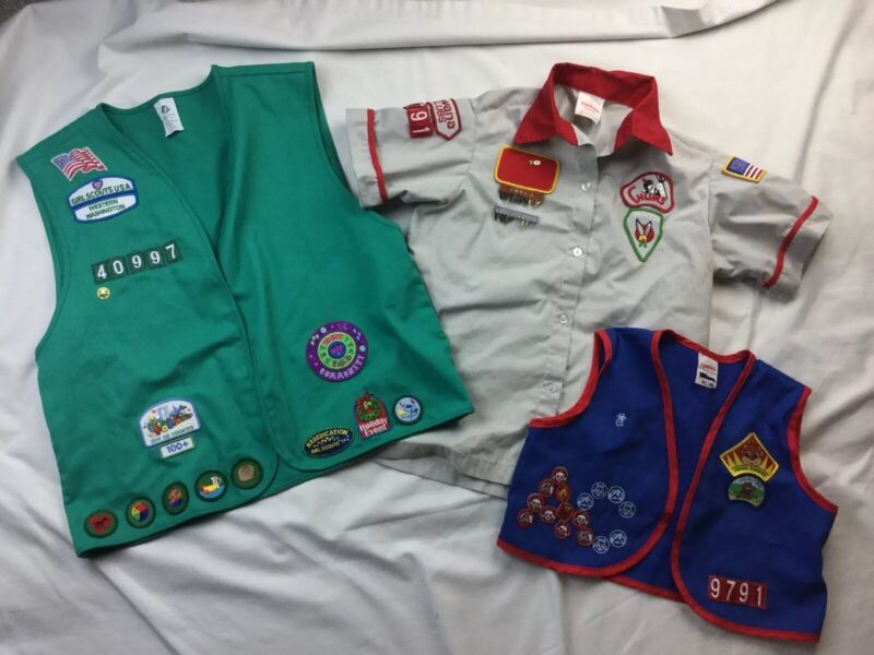 GIRL SCOUT & AWANA  LOT 3 VESTS With PATCHES Used