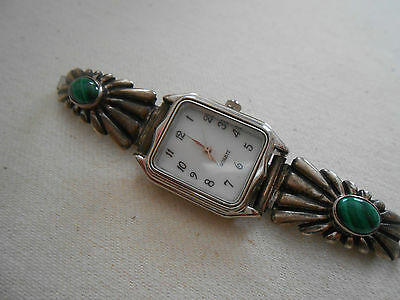 Southwest Sterling Silver Malachite Watch Tips & Watch Signed