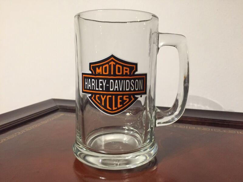 HARLEY DAVIDSON Glass Beer Mug Motorcycles Stein