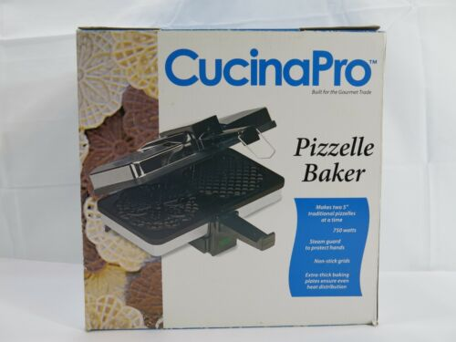 """BRAND NEW CucinaPro Pizzelle Baker #220-O5NS NON-STICK Makes Two 5"""""""