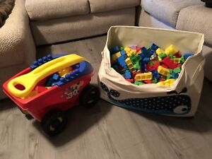 Mega Bloks with Wagon and Toy Chest