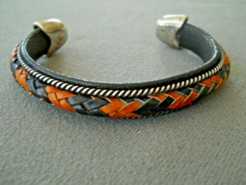 CHARLIE FAVOUR Southwestern Sterling Silver Braided Tan Black Leather Bracelet