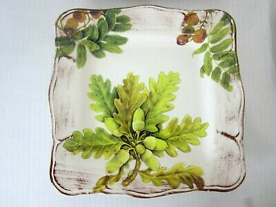 Sur La Table Italy Acorn & Fig Lot of 4 Square Salad Plates French Country Style
