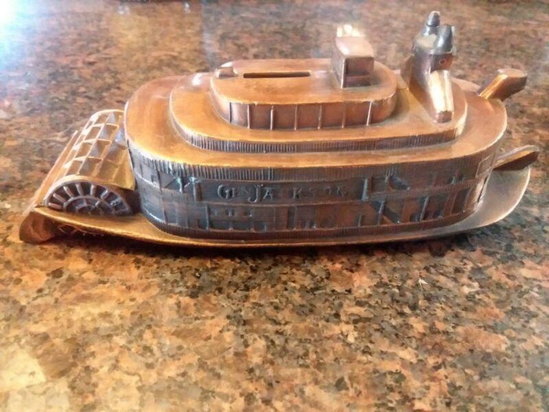 Vintage General Jackson Riverboat Copper Plated Bank