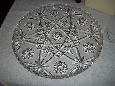 (Anchor Hocking EAPC Early American Star of David LARGE PRESCUT PLATE/CAKE PLATE)