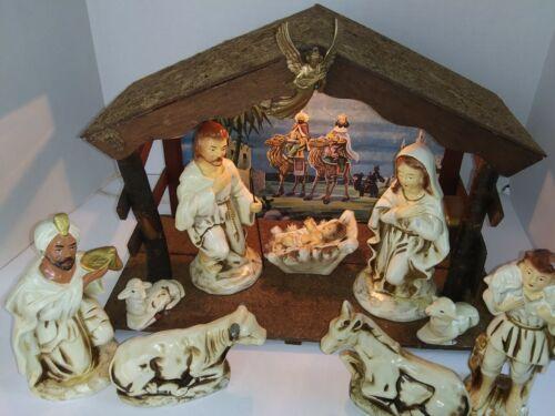 """Vintage Large 11 Piece Nativity Set Musical with Light 16"""" Wood Manger Japan***"""