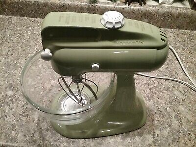 KitchenAid Green Vintage Stand Mixer Model 4C Hobart 4-C w/Beater Glass Bowl