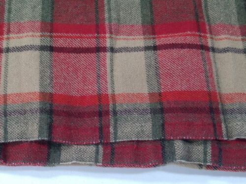RED plaid FELTED WOOL FABRIC penny rug hooking hand applique primitive green tan