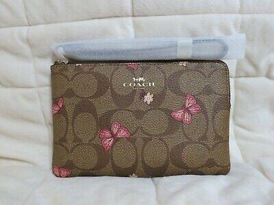 Coach Signature Butterfly Corner Zip Wristlet (Khaki/Pink)-NWT (2972)