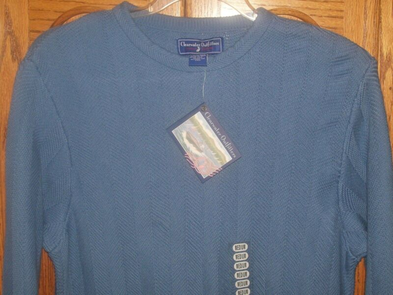 NWT MENS Clearwater Outfitters Medium Pullover Sweater BLUE Casual / Dress Nice