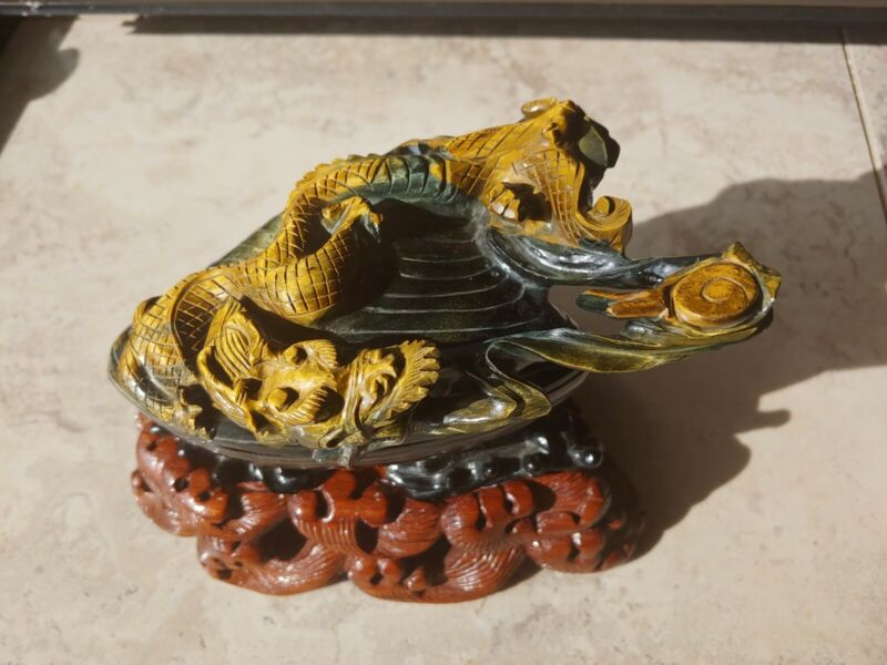 Antique Chinese Blue Tiger Eye Dragon Statue