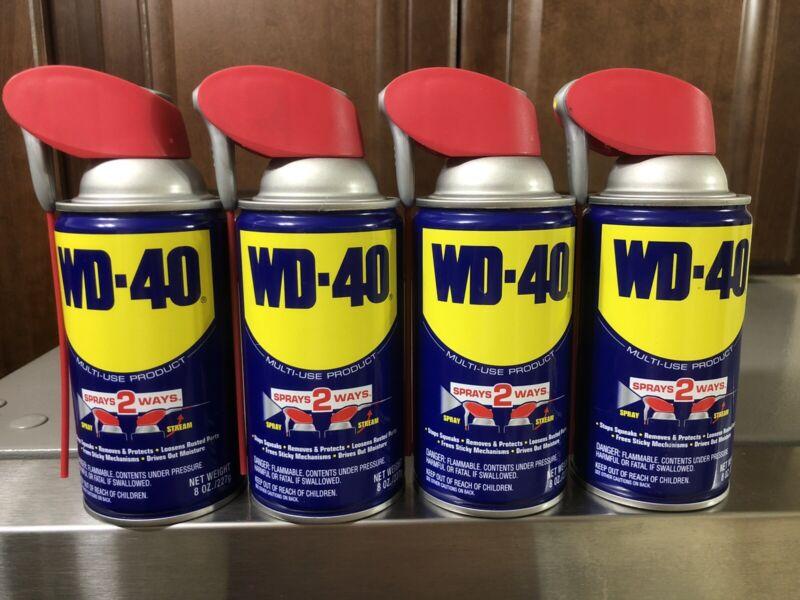 (Lot of 4) 8oz WD-40 Multi-Purpose Lubricant W/Smart Straw - Spray Two Ways