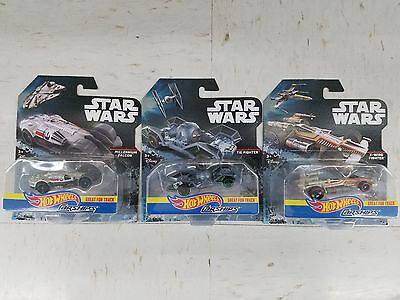 Hot Wheels Star Wars Carships Set of Best Millennium Falcon, Tie Fighter & Xwing