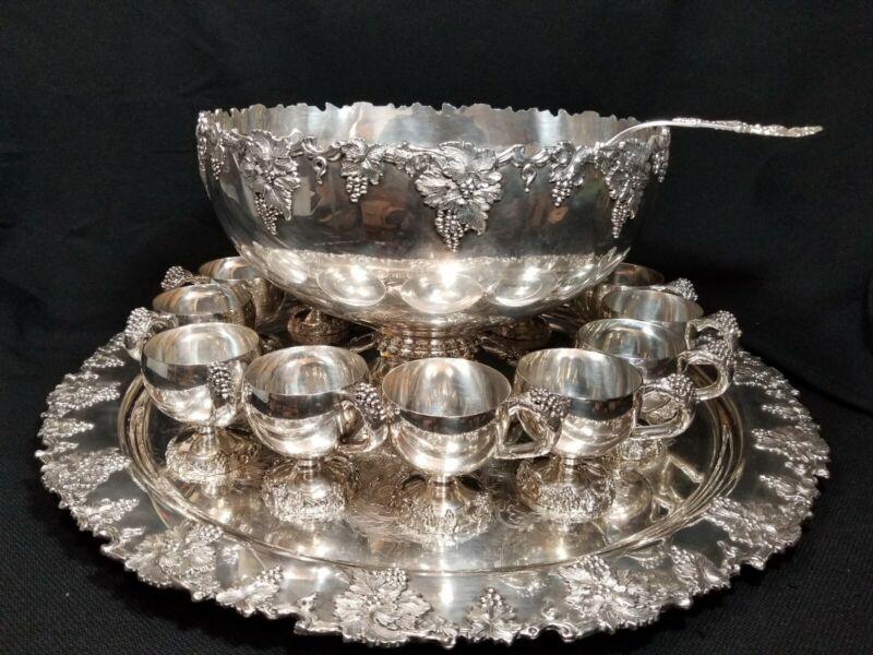 Vintage Punch Bowl Set Grape  International Silver Co. 12 Cups + Plater