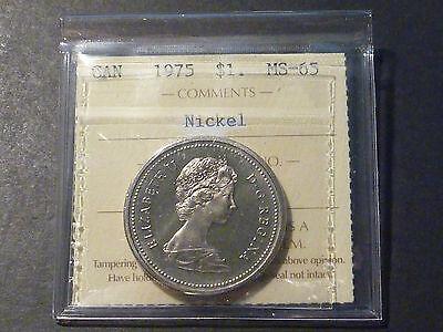 CANADA NICKEL DOLLAR 1975 BUSINESS STRIKE ICCS MS 65