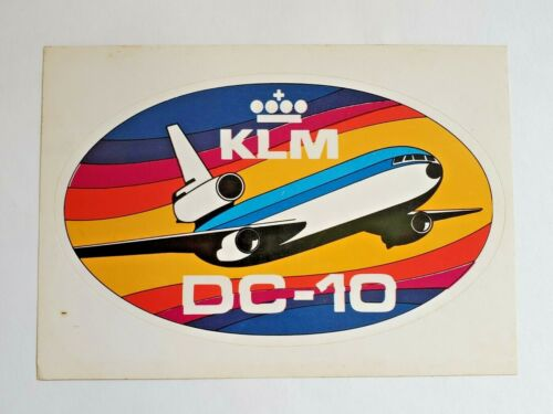 KLM AIRLINES DC-10 30 COMBO POSTCARD AND STICKER