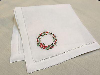 22 Inch White Ivory Evergreen Christmas Hemstitch Linen Cloth Napkin Set of 12
