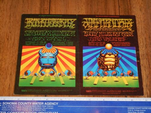 1968 JIMI HENDRIX, IRON BUTTERFLY FILLMORE DOUBLE POSTCARD BG 140-141, GRIFFIN