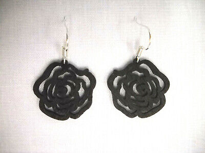 NEW SMALL SIZE BLACK CUT OUT OPEN VICTORIAN ROSE FLOWER WOODEN CHARM EARRINGS
