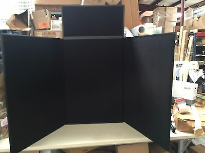 3-panel Tabletop Exhibition Board 72 X 36 Hook N Loop Receptive Fabricblack