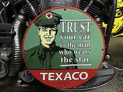VINTAGE PORCELAIN 1953 TEXACO TRUST THE MAN WHO WEARS THE STAR Ford Harley Che