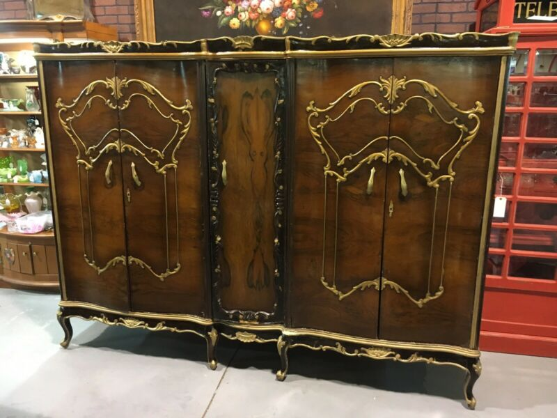 Large Antique French 5 Door Wardrobe Burl Walnut Gold Trim Armoire