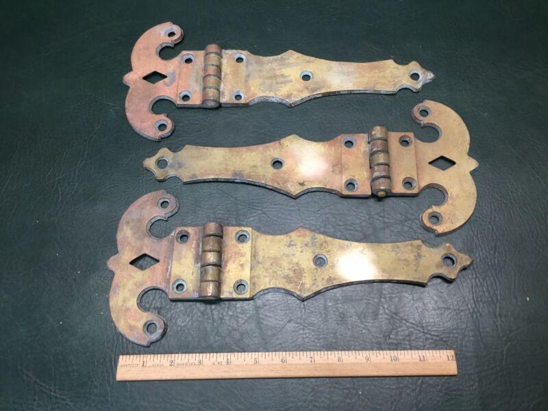 """Set of 3 Large Antique Ornate Brass Barn Door Hinges 14"""" Long #10"""