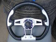 """Leather + Chrome SPORTS STEERING WHEEL 13 """" + Toyota Boss. Mardi Wyong Area Preview"""