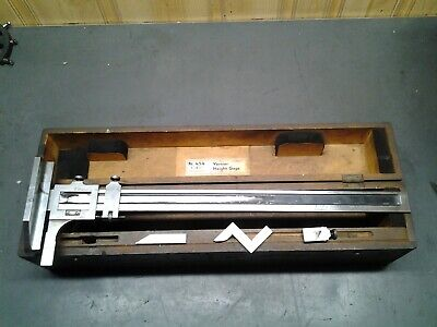 Starrett Vernier Height Gage No 454 - 18 In Wood Box Ms-316