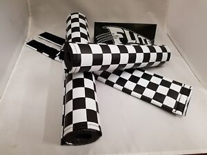 Flite Padset Pad Set 3 pc Old School BMX Racing  USA made CHECKERED BOARD BLACK
