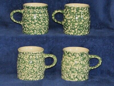 Set of (4) Green Spongeware Mugs Workshop of Gerald Henn Roseville Ohio 12 oz