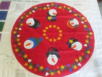 """DreamSpinners SNOWMAN TREE SKIRT or TABLE TOPPER Cotton PANEL - 33"""" Round"""