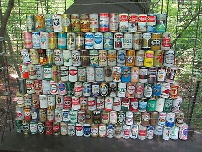 QTY= [148]  VINTAGE  STEEL  BEER CAN COLLECTION  -[EMPTY CANS, MULTI PICTURES]-