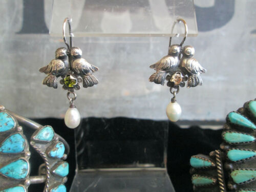 Vintage Mexican Sterling Silver Kissing Dove Bird Frida Pearl Crystal Earrings