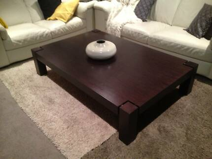 Large dark brown wood Natuzzi coffee table Docklands Melbourne City Preview
