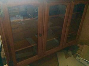 Solid wood beautiful hutch with glass doors $50 London Ontario image 1