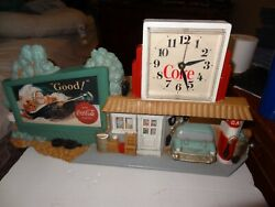 Vintage 1990 Coca Cola Wall Clock - 3D Gas Station - Rt 66 Billboard - Coke