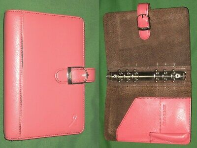 Portable 1.0 Pink Ribbon Leather Day Timer Planner Compact Franklin Covey