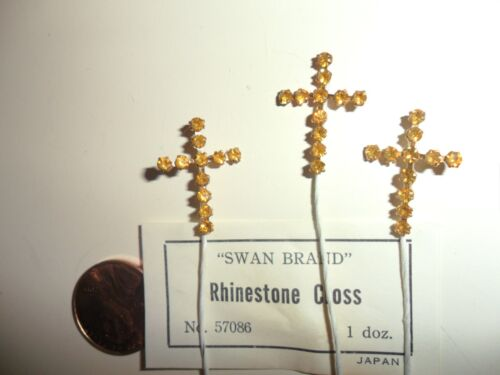 Vintage Rhinestone Gold color Cross Made in Japan
