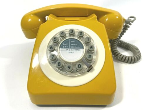 Yellow Retro Rotary Button Dial Phone 1960's Inspired Landline WILD AND WOLF