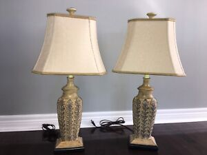 2 Wooden Bedside Table Lamps