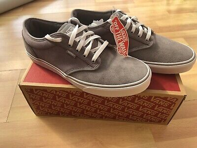 VANS Atwood Mens Canvas+Suede Trainers Grey+White BNIB Size UK 11/EUR 46