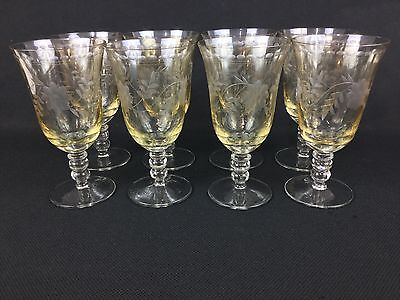 "Romania Royal Danube Etched Yellow EIGHT 7 1/8"" Water Goblets Glasses"