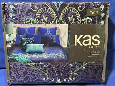 Kas Australia Pushkar Royal Blue Purple Hobo Embroirder Twin Duvet Cover New!