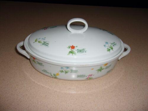 Vintage Anchor Ovenware FLORET 1.5 Oval Casserole Baking Dish with Lid Japan
