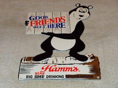 "VINTAGE HAMM'S BEER BEAR DIECUT 12"" METAL DRINKING, GASOLINE OIL SIGN PUMP PLATE"